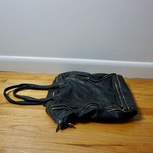 ALEXANDER WANG Black Leather Zipper Shoulder Bag